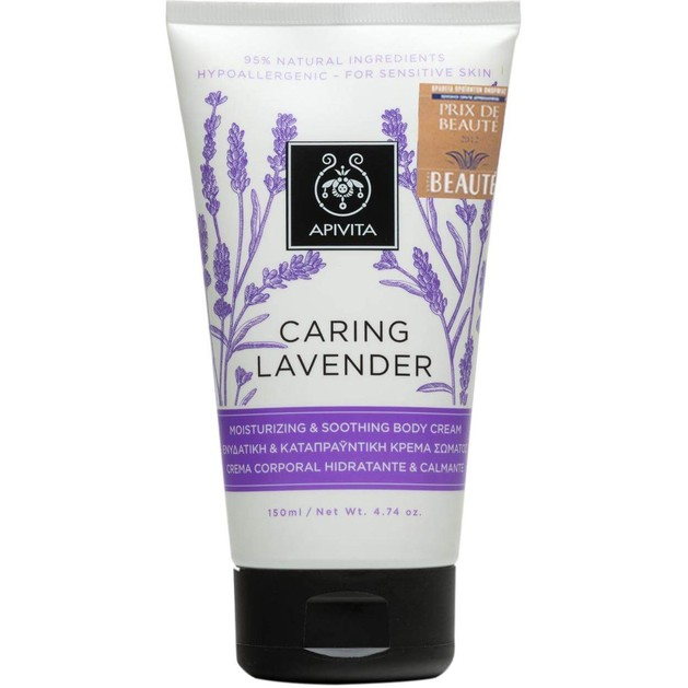 Caring Lavender Moisturizing & Soothing Body Cream 150ml - Apivita