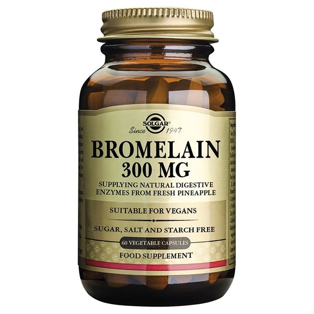 Solgar Bromelain 300mg Βρομελαΐνη Φυσικό Πεπτικό Ένζυμο Που Βοηθά Στην Βελτίωση Της Πέψης, 60 veg.caps