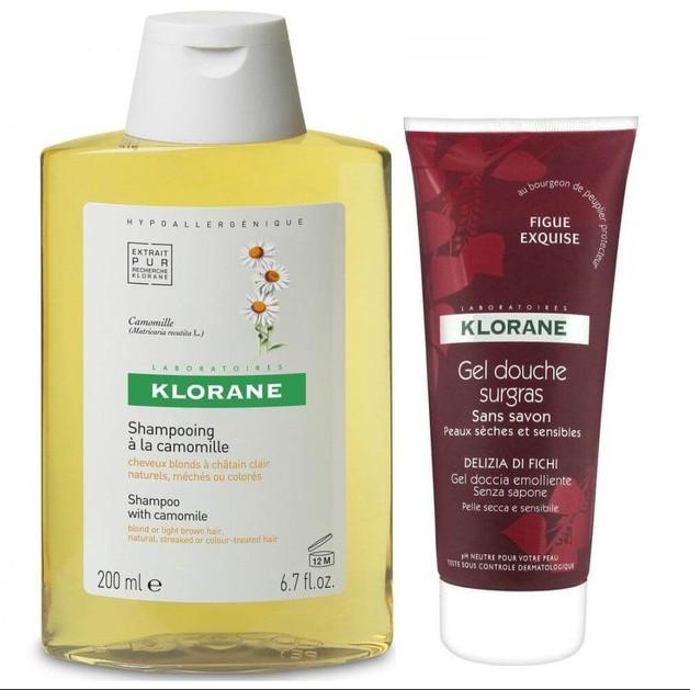 Klorane Πακέτο Προσφοράς Shampooing a la Camomille 400ml & Gel Douche Surgras Delizia di Fichi 200ml