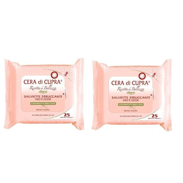 2 x Cera di Cupra Make - Up Remover Μαντηλάκια Ντεμακιγιάζ 1+1 Δώρο 2χ 25Μαντ