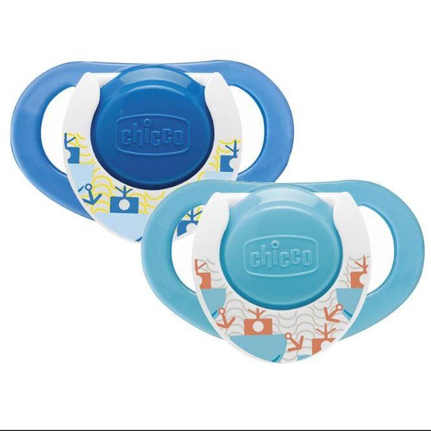 Chicco Physio Compact Πιπίλα Καουτσούκ με Κρίκο 12m+ Μπλε 2τμχ