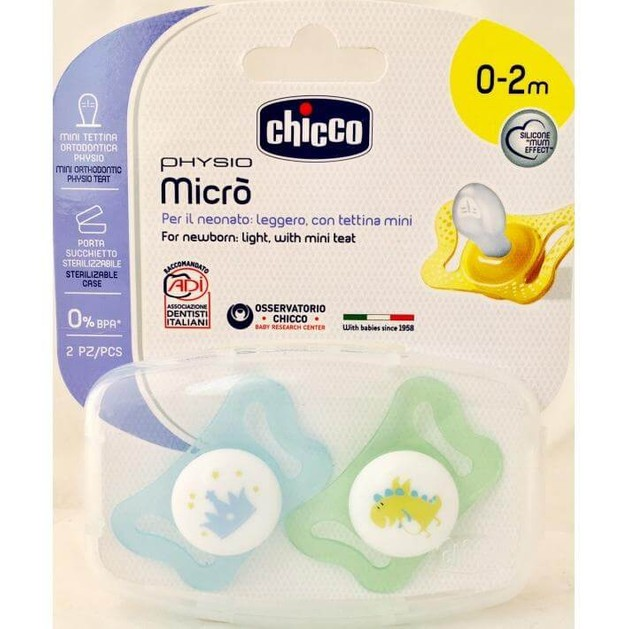 Chicco Physio Micro Πιπίλα Σιλικόνης 0-2 Μηνών 2τμχ