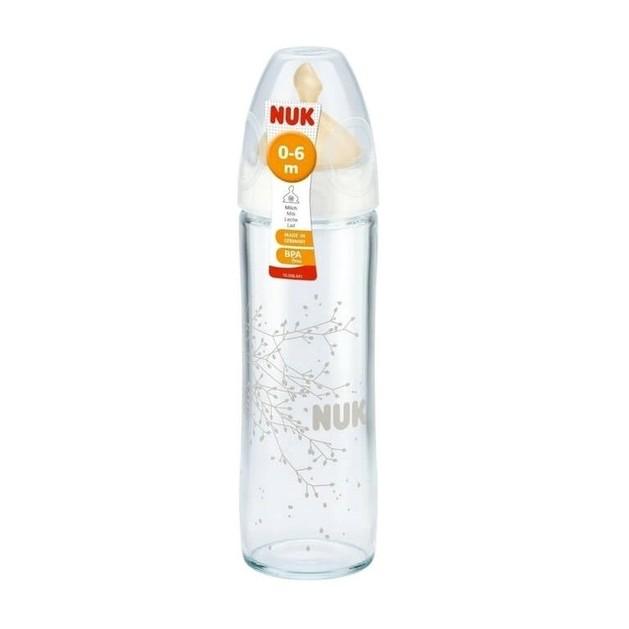 Nuk New Classic Γυάλινο Μπιμπερό Λευκό Θηλή Καουτσουκ Μέγεθος 0-6 Μηνών, Μ 240ml