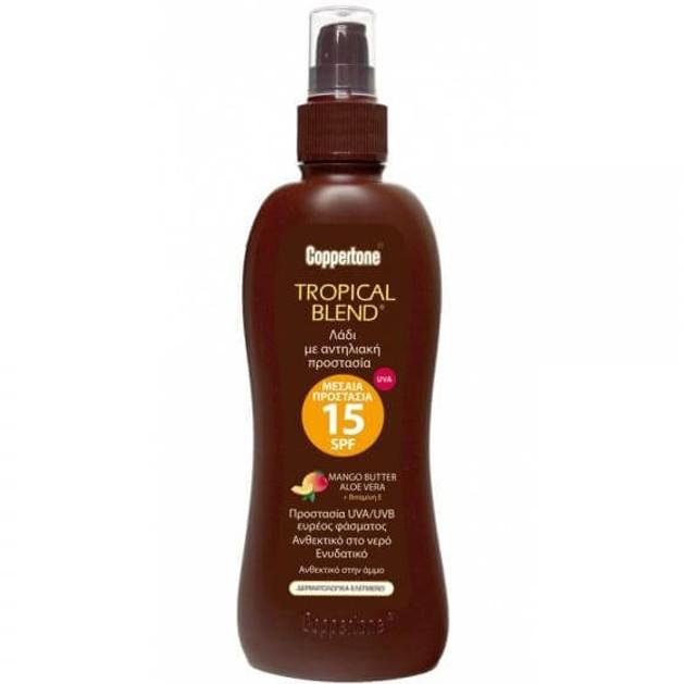 Coppertone Tanning Oil Spray Spf15 Αντηλιακό Λάδι Προσώπου Σώματος Mango Butter, Aloe Vera & Vitamin E 200ml