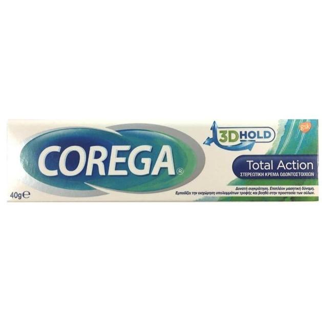 Corega 3D Hold Total Action Στερεωτική Κρέμα Οδοντοστοιχιών για Δυνατή Συγκράτηση και Επιπλέον Μασητική Δύναμη 40gr