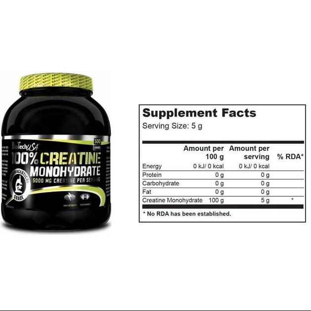 Biotech Usa 100% Creatine Monohydrate Καθαρή Μονοϋδρική Κρεατίνη 500gr