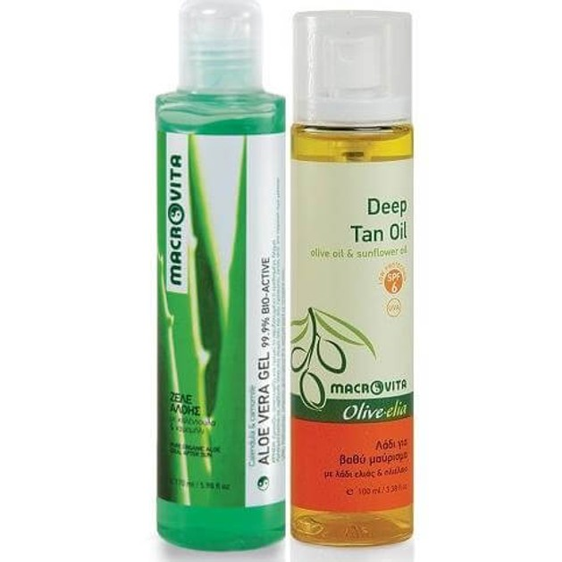 Macrovita Aloe Vera Gel 170ml & Δώρο Deep Tan Oil Spf6, 100ml