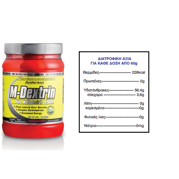 Anderson M-Dextrin Pure Maltodextrin Συμπλήρωμα Διατροφής Με Βάση Την Μαλτοδεξτρίνη 600g
