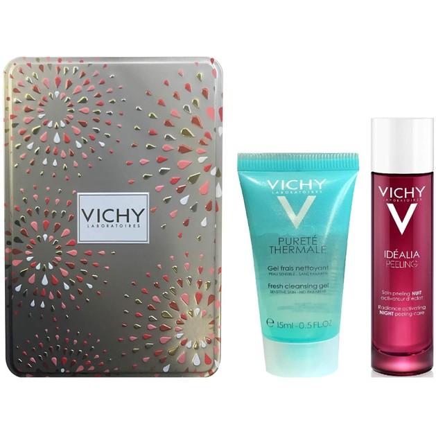 Δώρο Vichy Purete Thermale Δροσερό Gel Καθαρισμού 15ml & Idealia Peeling Απολέπιση Νυχτός 3ml & Vichy Μεταλλικό Κουτί