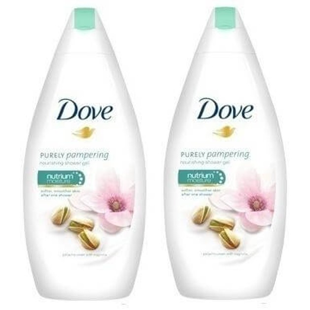 Dove Purely Pampering Pistachio & Magnolia Αναζωογωνητικό Αφρόλουτρο με Άρωμα Μανόλιας, 2 x 750ml 1+1 Δώρο