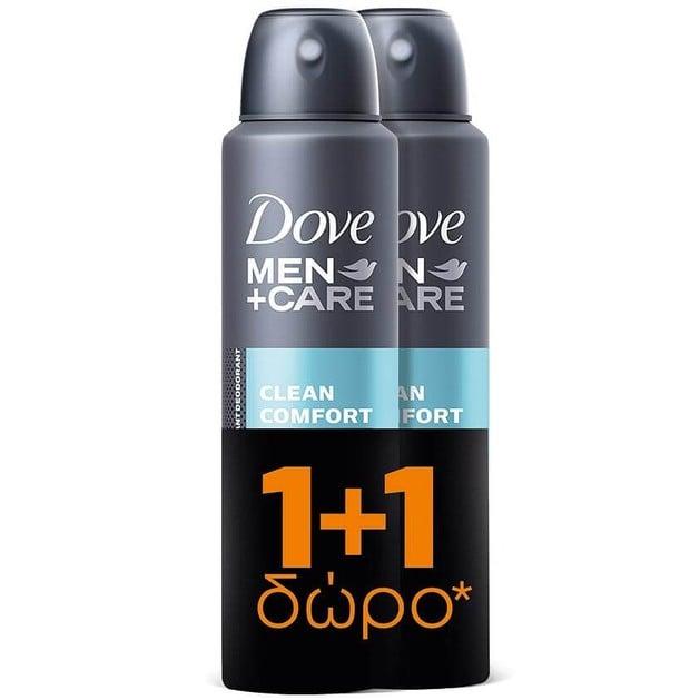 Dove Men Αποσμητικό Spray Clean Comfort 2 x 150ml Πακέτο 1+1
