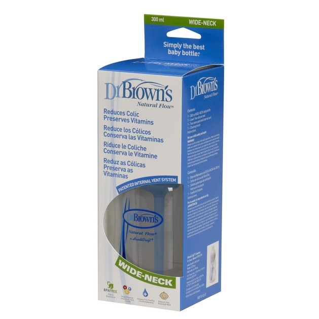 Dr. Brown\'s 110-WB Μπιμπερό Πλαστικό με φαρδύ λαιμό, 300ml, Θηλή Σιλικόνης 1 τεμάχιο