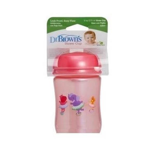 Dr. Brown\'s 9134-GB Κύπελλο με καλαμάκι, 12+ μηνών, 0% BPA, Στεγανό και με εύκολη ροή, 270ml