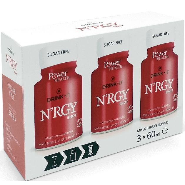 Power Health Drink It N\'RGY Shot Συμπλήρωμα Διατροφής για Τόνωση, 3 x 60ml
