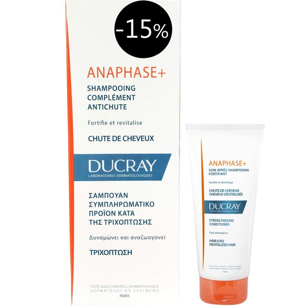 Ducray Anaphase+ Shampooing Complement Antichute Τονωτικό Shampoo Κατά της Τριχόπτωσης 200ml Promo -15% & Δώρο Μαλακτική 50ml