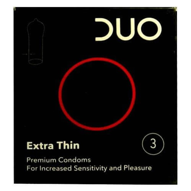 Duo Extra Thin Λεπτό Προφυλακτικό Για Μεγαλύτερη Αίσθηση & Ευχαρίστηση 3τεμ