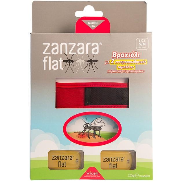 Vican Zanzara Flat Βραχιόλι σε Διάφορα Χρώματα 1τμχ & 2 Εντομοαπωθητικές Ταμπλέτες Μέγεθος M/L 1τμχ