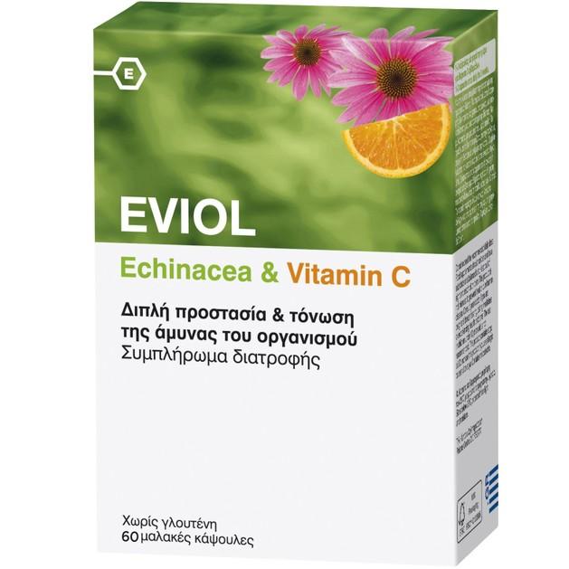 Eviol Echinacea & Vitamin C Συμπλήρωμα Διατροφής Διπλής Προστασίας & Τόνωσης της Άμυνας του Οργανισμού 60 Soft.Caps
