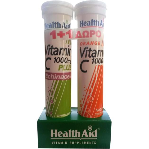 Health Aid Πακέτο Προσφοράς Vit C 1000mg Plus Echinachea 20eff.tabs + Δώρο Vit C 1000mg 20eff.tabs