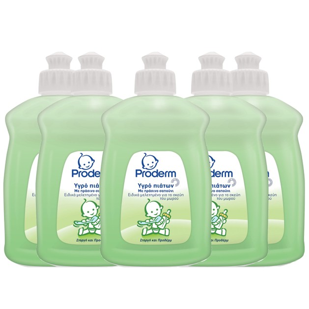 Proderm Πακέτο Προσφοράς Υγρό Πιάτων με Πράσινο Σαπούνι Ειδικά Μελετημένο για τα Ευαίσθητα Σκεύη του Μωρού 5x500ml