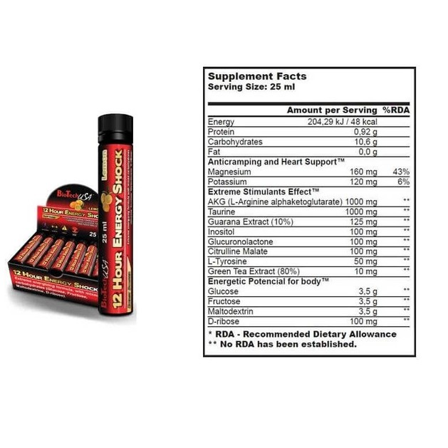 Biotech Usa 12-Hour Energy Shock 20x25ml amps