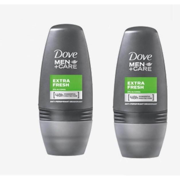 Dove Men Αποσμητικό Roll on Extra Fresh 2 x 50ml Πακέτο 1+1