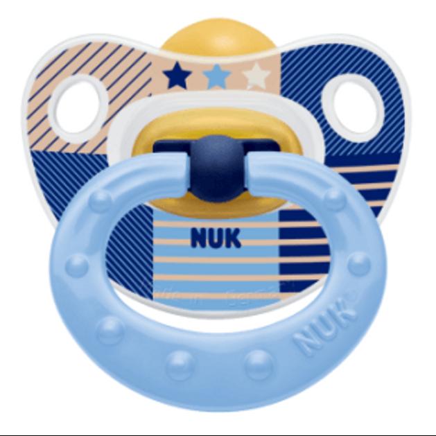 NUK Classic Happy Kids πιπίλα καουτσούκ με κρίκο, μεγέθη 1-3