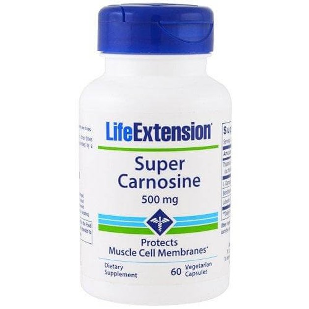 Life Extension Super Carnosine 500mg Συμπλήρωμα Διατροφής, Συμβάλλει στην Φυσιολογική Λειτουργία του Νευρικού Συστήματος 60caps