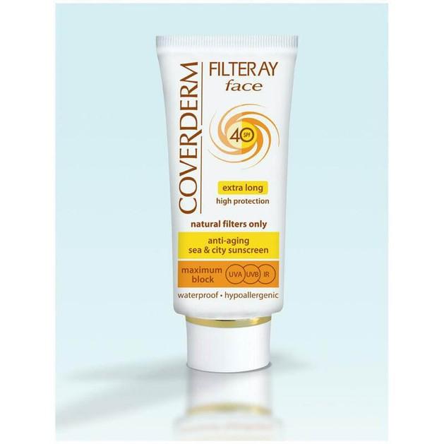 Coverderm Filteray Face Spf40 - Αντηλιακή Κρέμα Προσώπου, για Όλους Τύπους Δέρματος Κατάλληλο για το Ευαίσθητο Δέρμα 50ml