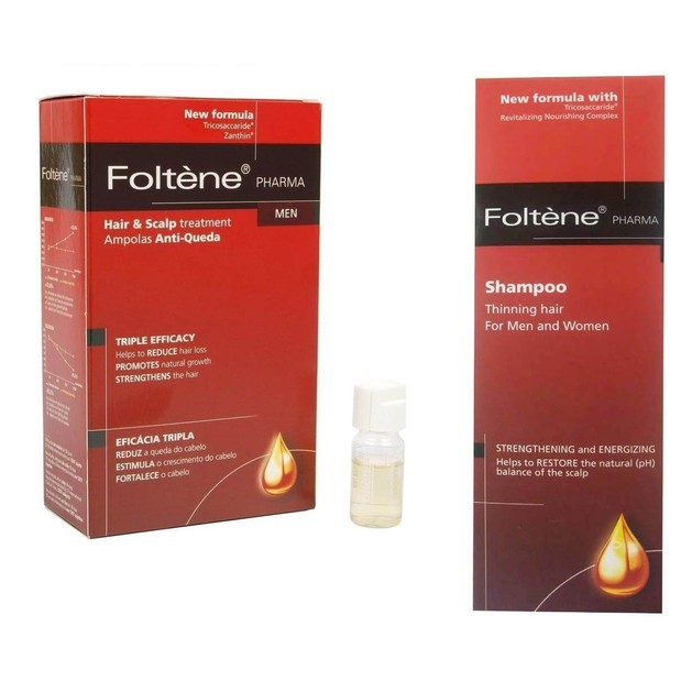 Foltene Hair & Scalp Treatment Men Αμπούλες 12x38ml & Δώρο Thinning Hair Shampoo 200ml