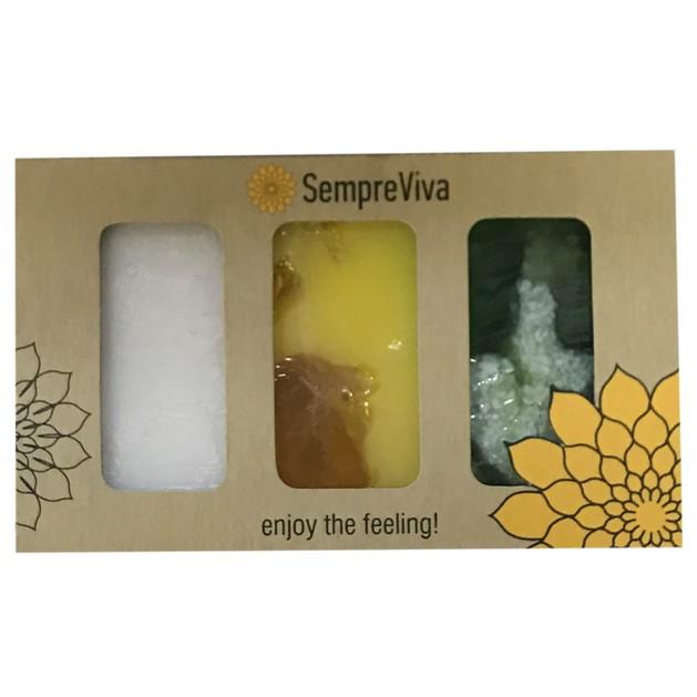 SempreViva Soap Kit Olive - Donkey Milk - Chamonile & Honey 3 Τεμάχια