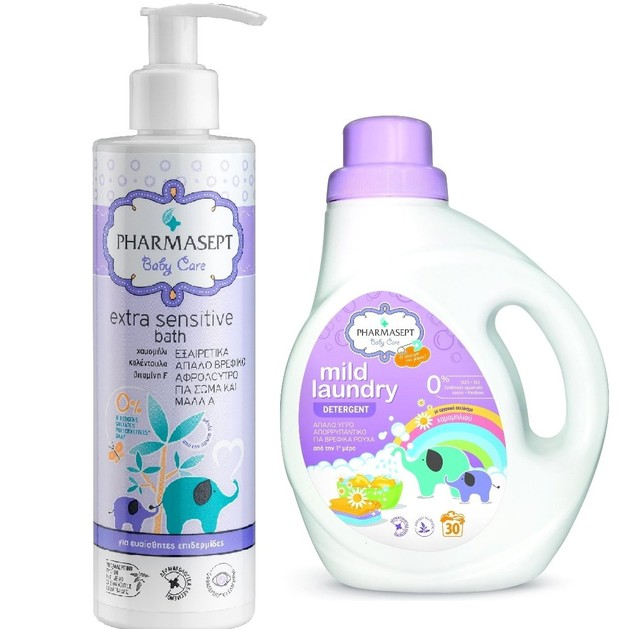Pharmasept Baby Mild Laundry Detergent 1Lt + Baby Extra Sensitive Bath 250ml