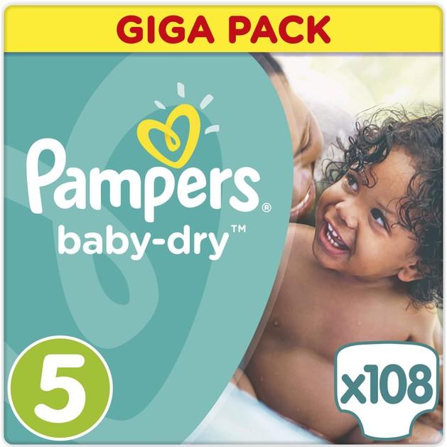 Pampers Baby Dry Giga Pack No5 Junior (11-25kg), 108 πάνες