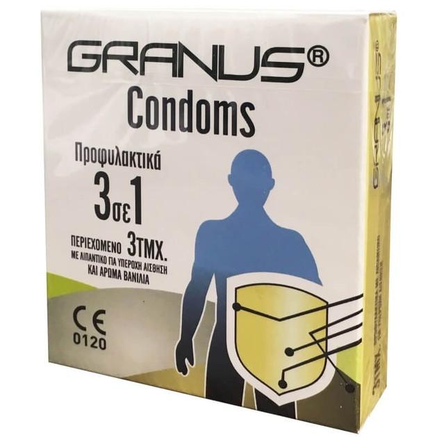 Granus Condoms Προφυλακτικά με Λιπαντικό και Άρωμα Βανίλια 3 σε 1 3τεμ