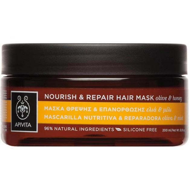 Nourish & Repair Hair Mask With Olive & Honey 200ml - Apivita