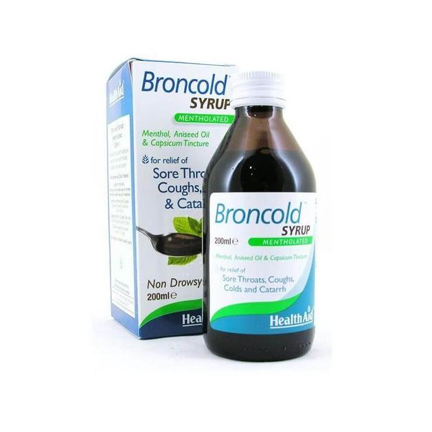 Health Aid Broncold Syrup  Μέντα Γλυκάνισο & Κόκκινη Πιπεριά  Για Το Βήχα Τον Πονόλαιμο & Την Καταρροή 200ml