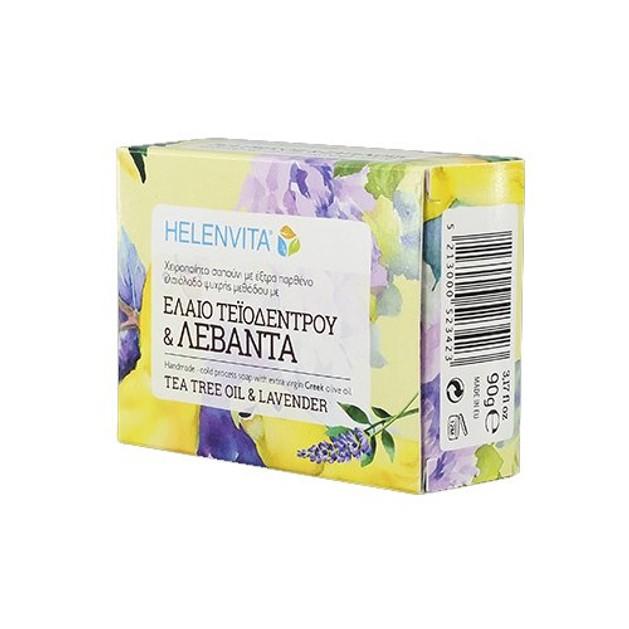 Δώρο Helenvita Tea Tree Oil Soap & Lavender Χειροποίητο Σαπούνι με Έλαιο Τεϊόδεντρου & Λεβάντα 90gr