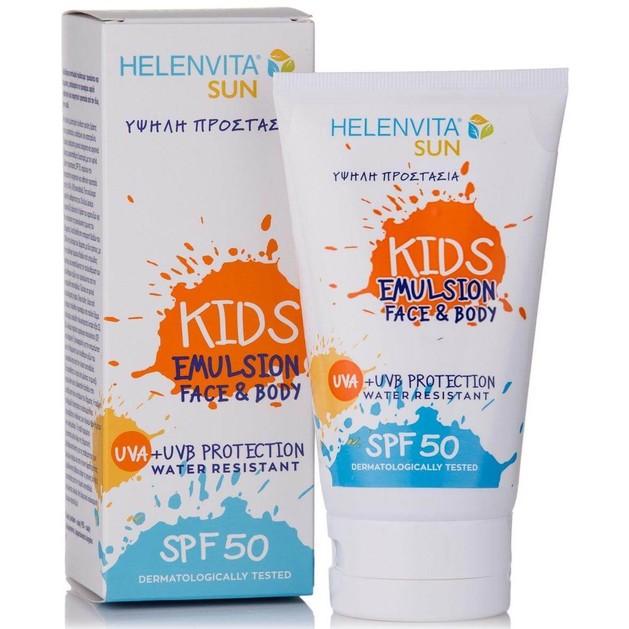 Helenvita Sun Kids Face & Body Emulsion Spf50 Παιδικό Αδιάβροχο Αντηλιακό Γαλάκτωμα Προσώπου-Σώματος Υψηλής Προστασίας 150ml