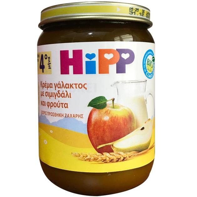 Hipp Βρεφική Κρέμα Γάλακτος με Σιμιγδάλι & Φρούτα Μετά τον 4ο Μήνα 190gr