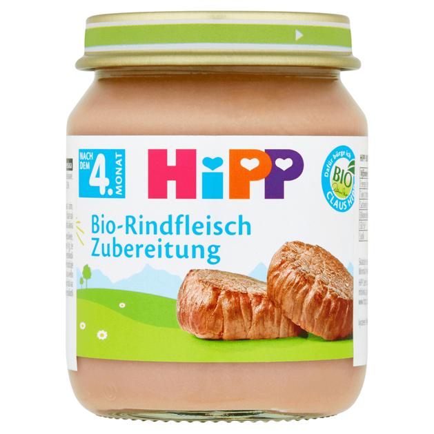 Hipp Βρεφικό Γεύμα με Βιολογικό Μοσχαράκι Μετά τον 4ο Μήνα 125g