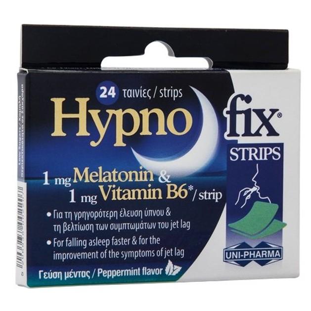 Uni-Pharma Hypno Fix Strips Συμπλήρωμα Διατροφής με Μελατονίνη, 24 ταινίες