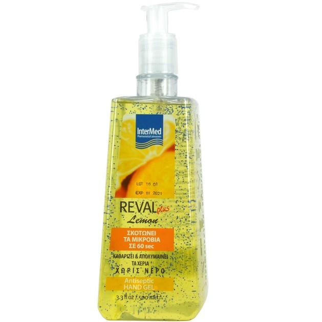 Intermed Reval Plus Lemon Antiseptic Hand Gel Αντιβακτηριδιακό Αντισηπτικό Τζελ Χεριών με Άρωμα Λεμόνι 500ml