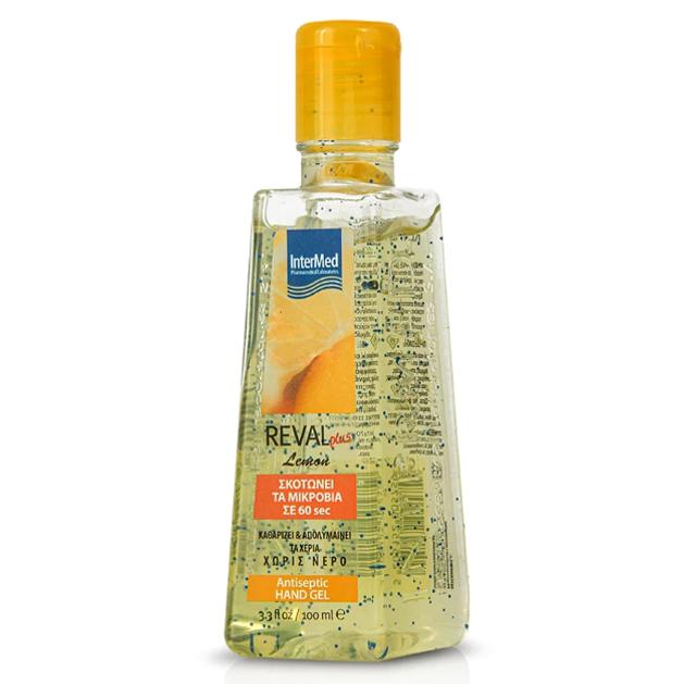 Intermed Reval Plus Lemon Antiseptic Hand Gel Αντιβακτηριδιακό Αντισηπτικό Τζελ Χεριών με Άρωμα Λεμόνι 100ml