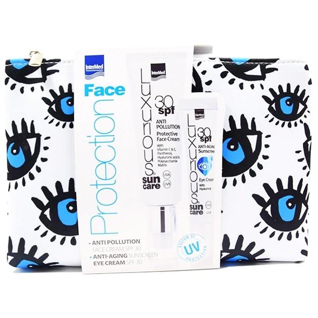 Intermed Promo Luxurious Protection Anti Pollution Face Cream SPF30 50ml & Anti Aging Sunscreen Eye Cream SPF30 15ml
