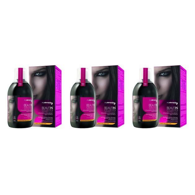 3 x MyElements Beautin Collagen Υδρολυμένο Πόσιμο Κολλαγόνο Με Υαλουρονικό Οξύ Και Βιταμίνες A,B,C 3x500ml