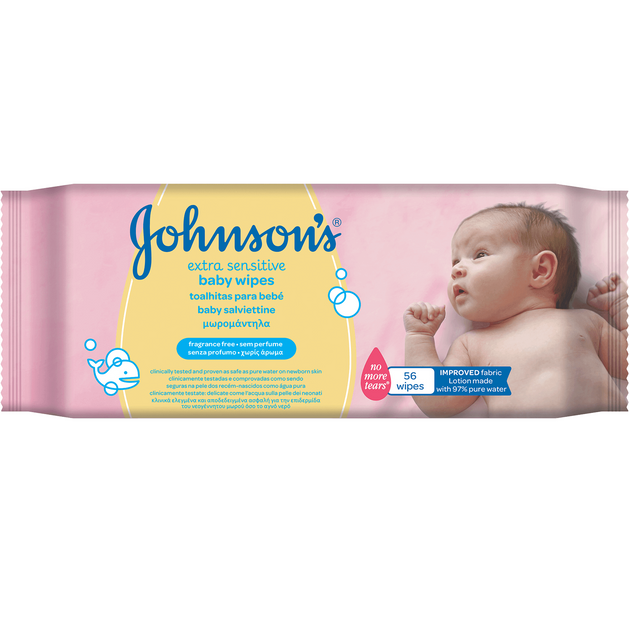 Johnson\'s Baby Wipes Extra Sensitive Μωρομάντηλα Αποδεδειγμένα Ασφαλή & Απαλά 56 Τεμάχια