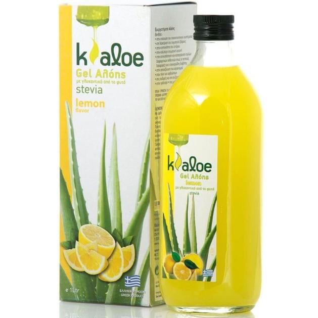 Gel Αλόης  με Γεύση Λεμόνι & Γλυκαντικά Από το Φυτό Stevia 1Lt - Kaloe