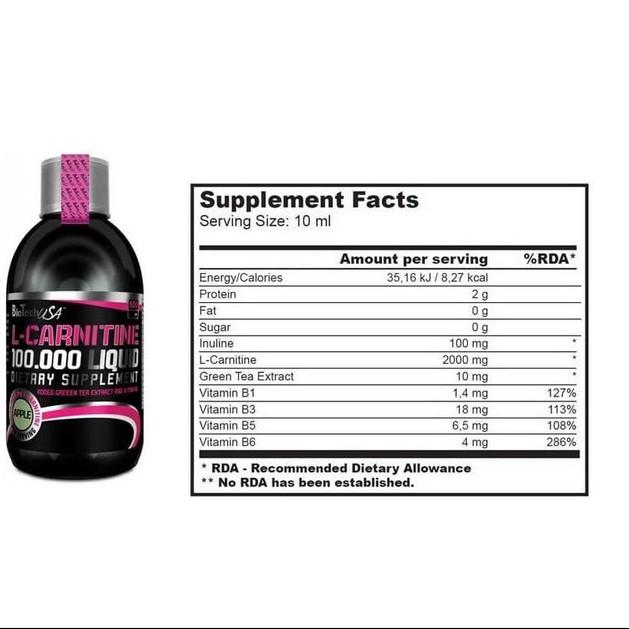 Biotech Usa L-Carnitine Liquid 100000 Καρνιτίνη Σε Υγρή Μορφή 500ml