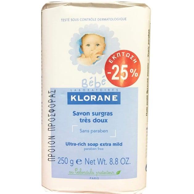 Klorane Bebe Savon Surgras Tres Doux 250g Promo -25%