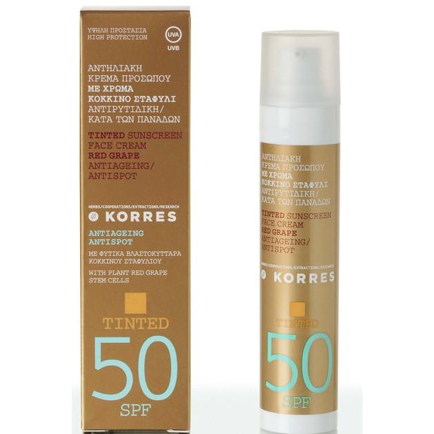 Tinted Sunscreen Κόκκινο Σταφύλι με Spf50 50ml - Korres